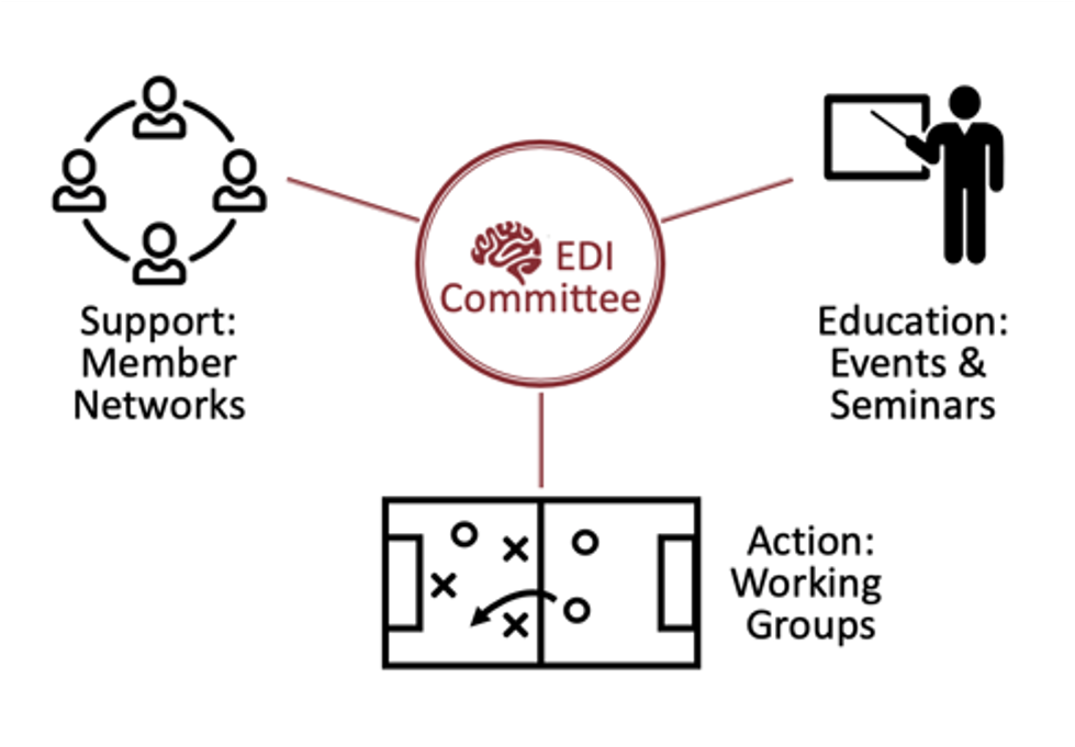 The EDI committee makes up of the the Support (Member networks), Education (events and seminars), and Action (working groups).